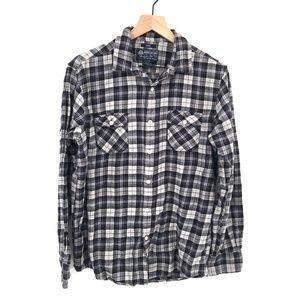 American Rag Mens Flannel Button-Front Shirt Black